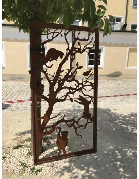 Deko Katzen und Mäuse Sichtschutzwand Katzen - Metall Paravent 200 cm hoch    ausgefallener 2 m hoher Sichtschutz mit Katzenm