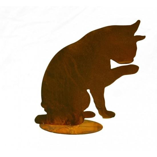 Rost Katze Tom putzend 28 cm hoch - Deko Katze für den Garten