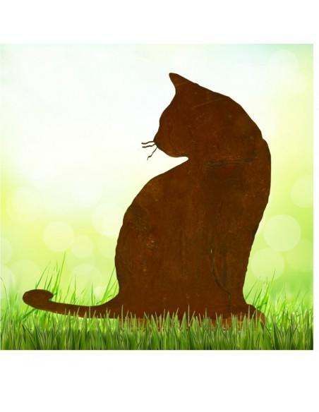 Deko Katzen und Mäuse Rostige Katze Tom sitzend H 30cm, B 30cm