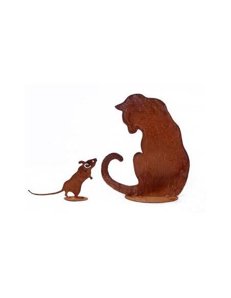 Edelrost Mäuse Edelrost Maus auf Platte 14 cm  Süße neugierige Maus auf Platte   Höhe: 14 cm Länge: 24 cm