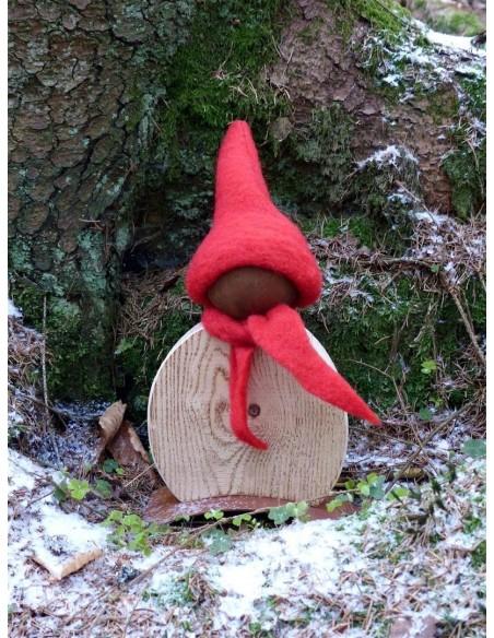Holz / Rost Kombinationen Wichtel Lenni 25 cm hoch  Höhe 25cm, Breite 18cm mit Holzkörper aus angeflammten Fichtenholz Filzmütze
