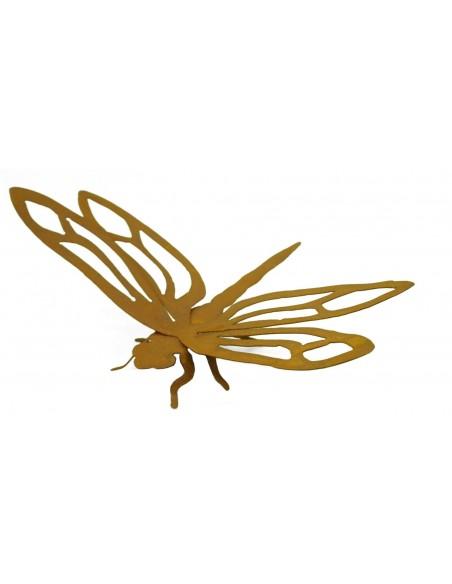 Gartenteich Edelrost Libelle - Dragonfly - 40 cm breit Länge 23 cm Flügelbreite 40 cm, Länge 23 cm, freistehend mit Füßchen un