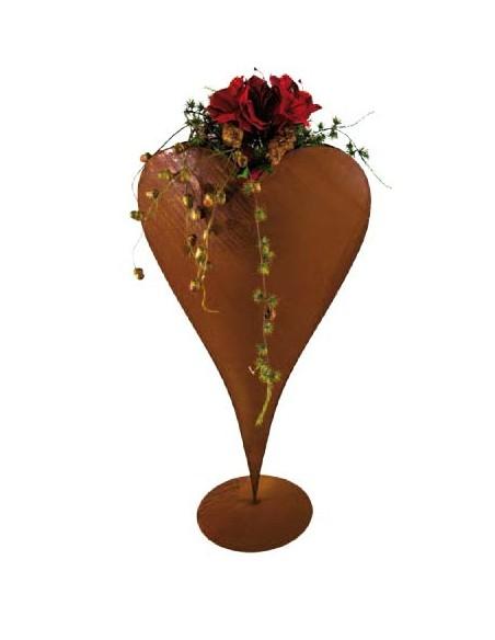 Herzige Dinge - Edelrost Dekoherzen Edelrost Herz zum Bepflanzen auf Platte 60 cm hoch Edelrost Pflanzherz auf Platte 60 cm hoch