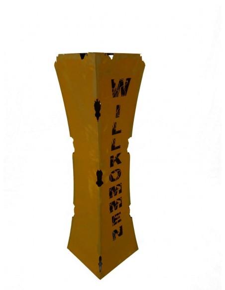 taillierte Säulen Rostsäule Willkommen tailiert mit Brennbehälter  Höhe 110 cm Breite: 30 x 30 cm inkl. herausnehmbaren Brennbeh