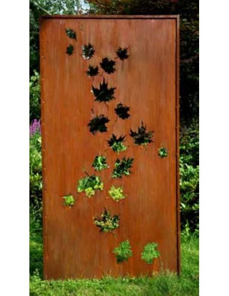 Herbstdeko Sichtschutzwand Ahorn Blätter - Höhe 200 cm - Breite 100 cm Schöne halboffene Sichtschutzwand aus Metall mit nach obe