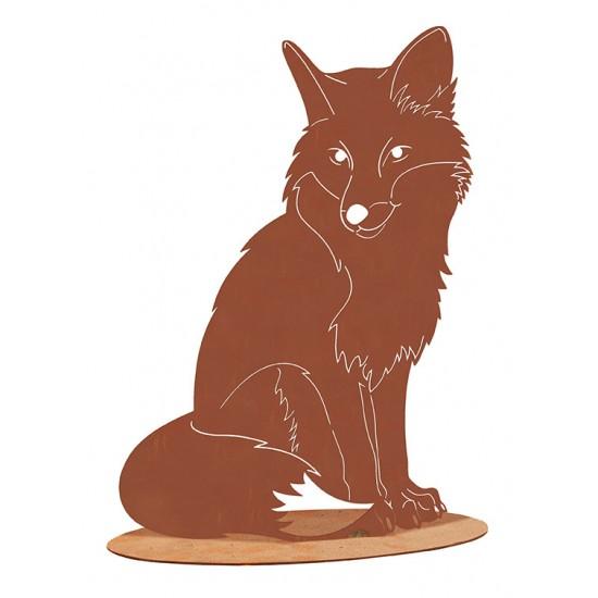 Fuchs sitzend auf Platte - Höhe 40 cm