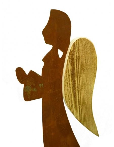 Gartendeko Rost Engel Veronika mit Holz 70 cm hoch -angeflammt- Edelrost