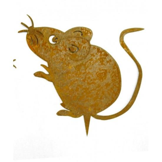 Rost Maus mit Baumspieß - Maus zum Einschlagen in Holz