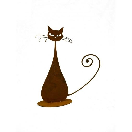 Deko Katzen und Mäuse Katze -Euchulia- 32 cm hoch Höhe 32cm, Breite 27cm stilisierte Edelrost Katze im modernen Stil
