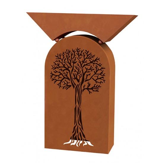 Rostsäule Baum -klein- inkl. Pflanzschale - Höhe 85 cm