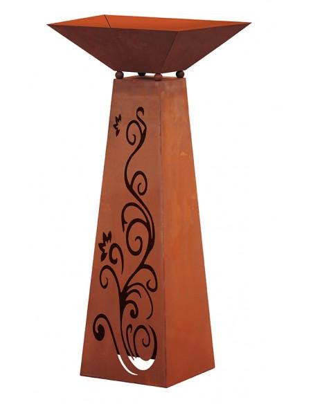 Rost Säule Trapez Ornament inkl. Schale 96,5 cm hoch