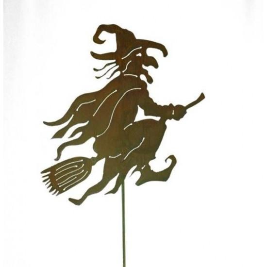 Hexen, Elfen, Drachen und Mystisches Alte Hexe als Gartenstecker - klein - 49 cm  Höhe 49 cm Breite 35 cm Stablänge 100 cm