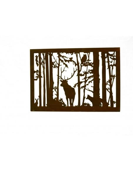Kerzentablett mit Hirsch und Wald als Fensterbank Deko