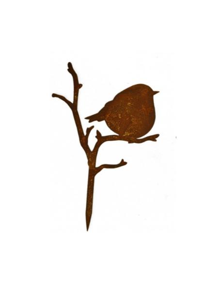 Start Deko Vögelchen auf Ast - nach hinten schauend- Höhe 24 cm zum Stecken  Süßes deko Vögelchen mit kurzem Stecker ist ideal