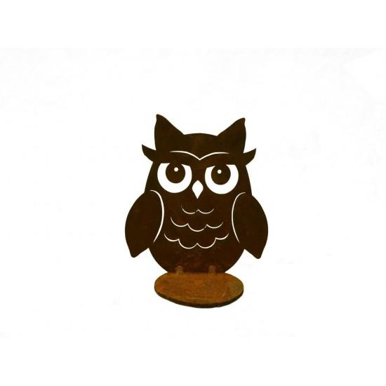 Kerzenhalter Edelrost Kauz zum Stellen mit Teelichthalter klein, Höhe 10 cm Edelrost-Kauz klein zum Stellen mit Teelichthalter
