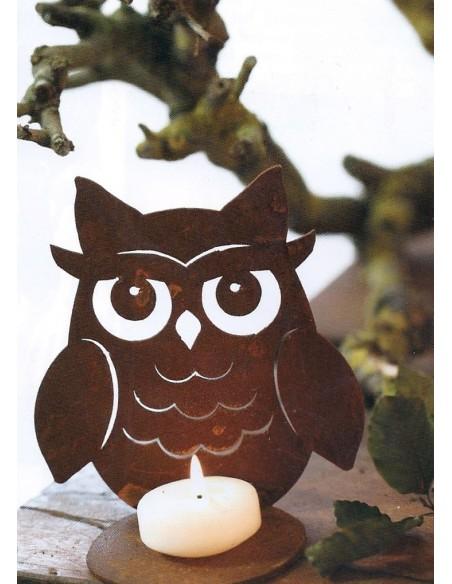 Kerzenhalter Edelrost Kauz zum Stellen mit Teelichthalter gross, Höhe 15 cm Edelrost Kauz gross zum Stellen mit Teelichthalter H