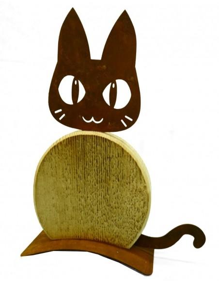 Deko Katzen und Mäuse Katze Cleo 33 cm hoch Katze Cleo in der Kombination Edelrost-Holz Höhe 33cm, Breite 25cm Holzbauch aus ang