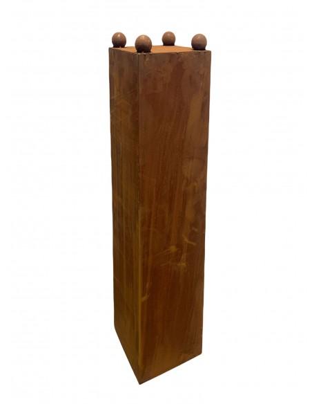 trapezförmige Säulen schlichtes Konusgefäß 120 cm mit 4 Stand-Kugeln á Ø 4 cm H 120cm, mit 4x Stahlkugeln Ø40mm. Lieferung ohn