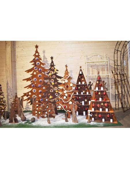 Weihnachtsbaum Metall und Edelrost Dekotanne 125 cm hoch für Christbaumkugeln - Weihnachtsbaum Metall Nachhaltig und modern: der