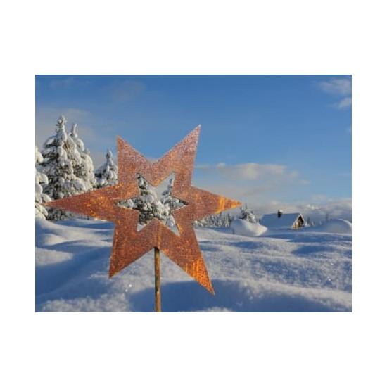 Sternstecker Gartenstecker Stern asymetrisch - 20 x 24 cm mit langem Stecker 80 cm  Dieser Gartenstecker Stern ist eine wunderb