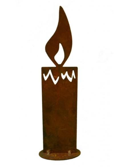 Kerzen - aus Edelrost und Holz Rostkerze 20 cm auf Bodenplatte Höhe 20cm Breite 5,5cm zum Hinstellen mit einer Bodenplatte