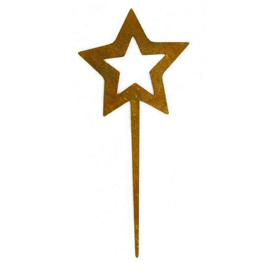 Katalogartikel Edelrost Stern mini Stecker Höhe 18 cm geeignet für Kränze oder Blumentopf