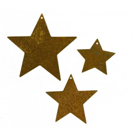 """schöne 3 tlg. Sternenkette """"geschlossen"""" in Rostoptik perfekte Weihnachtsdeko für den Innen- und Außenbereich"""