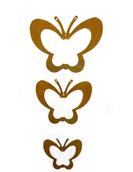 Osterschmuck 3 tlg. Schmetterlingskette ungefädelt - Rost Schmetterling 3er Set 3 tlg. Schmetterlingskette ungefädelt Höhe 12