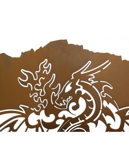 "Motiv Feuerkörbe Edelrost Feuerturm - Dragon - hohe Drachenfeuersäule - Höhe 110 cm Feuerturm ""Dragon"" - hohe Drachenfeuersäule"