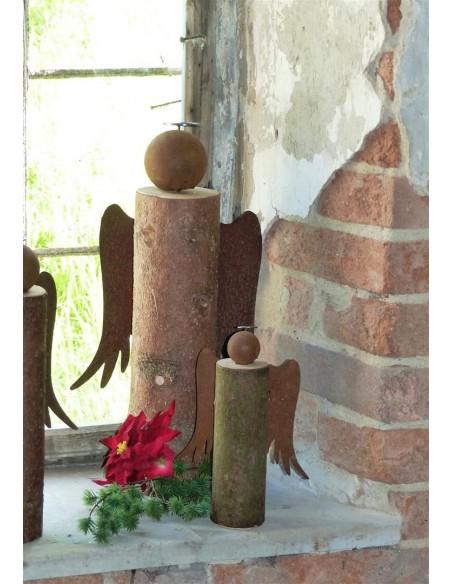 Rost Engel mit Fichtenholz Engel aus Baumstamm 25 cm mit Heiligenschein H 25cm, B 18cm, komplett fertig montiert mit Holzstamm a