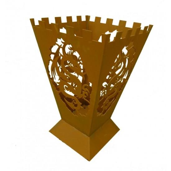 Feuerkorb - Fantasy - mit 4-seitigem Drachenmotiv - Höhe 64 cm