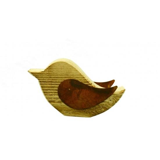 Vogel Deko Vogel -Matz- aus Holz mit Rostigen Flügeln Höhe 14cm, Breite 23cm unbehandeltes Fichtenholz