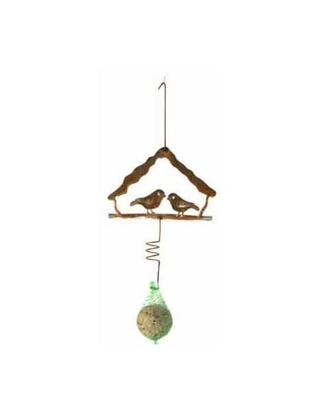 Vogelhaus Meisenknödelhalter aus Edelrost mit Meisenknödel