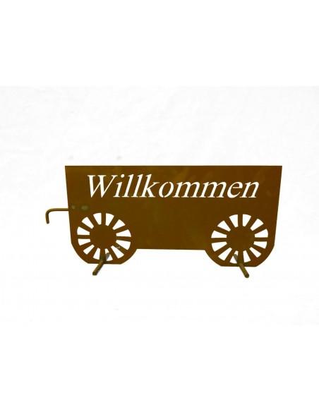 Frühling / Ostern Edelrost Traktor mit Hänger Willkommen, Länge 85 cm Ausgefallener Willkommensgruß: Edelrost Traktor inkl. Anhä