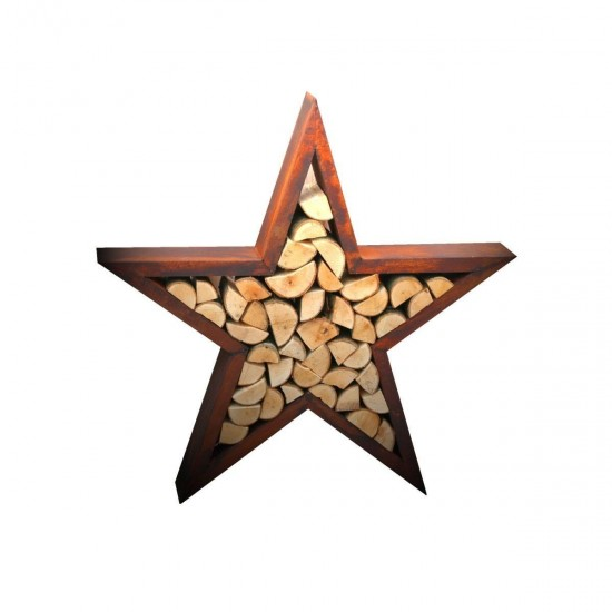 großer Stern für Kaminholz - Dekoration für Weihnachten