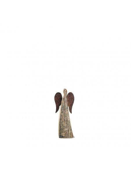 9 cm Rindenengel - Adad - mit rostigen Flügeln