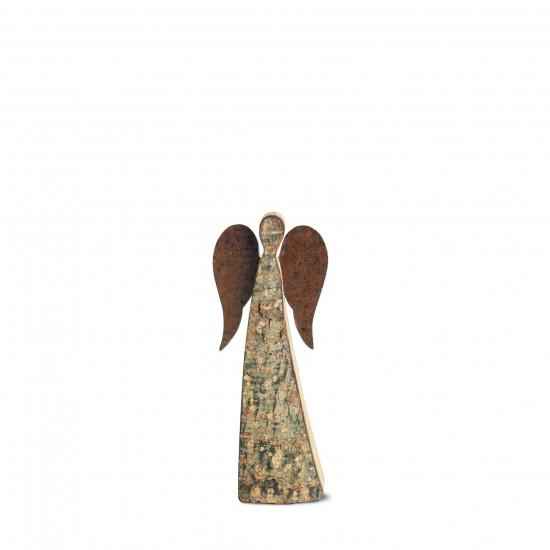 12 cm Rindenengel - Adad - mit rostigen Flügeln