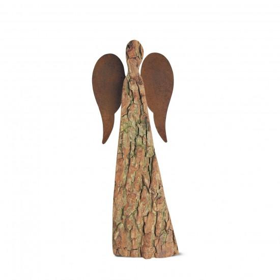 40 cm Rindenengel - Adad - mit rostigen Flügeln