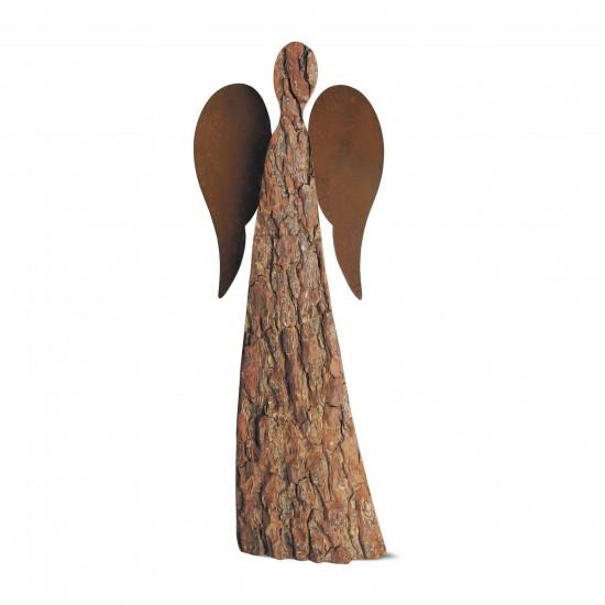 50 cm Rindenengel - Adad - mit rostigen Flügeln