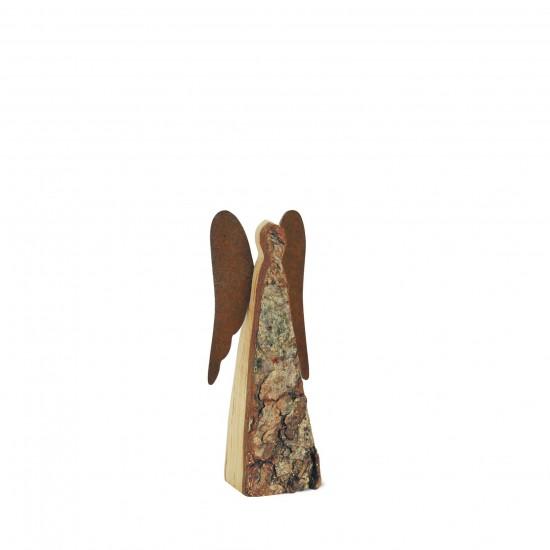 12 cm Rindenengel -Achaiah- mit rostigen Flügeln