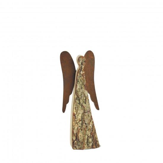 20 cm Rindenengel -Achaiah- mit rostigen Flügeln