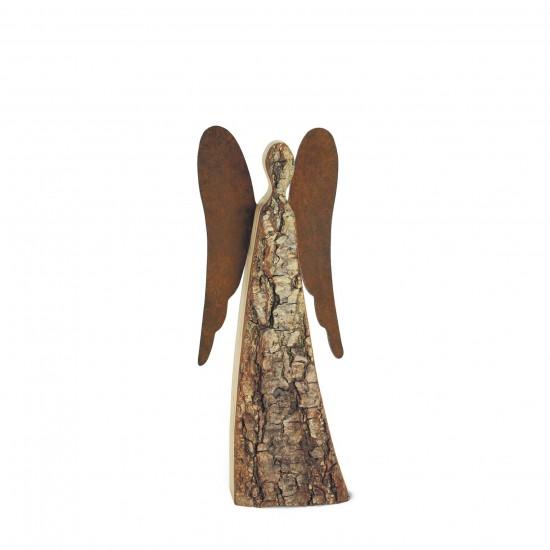 30 cm Rindenengel -Achaiah- mit rostigen Flügeln