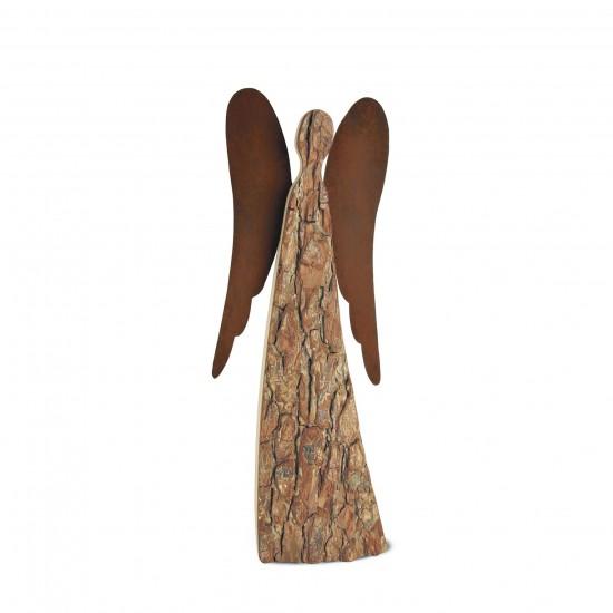 40 cm Rindenengel -Achaiah- mit rostigen Flügeln