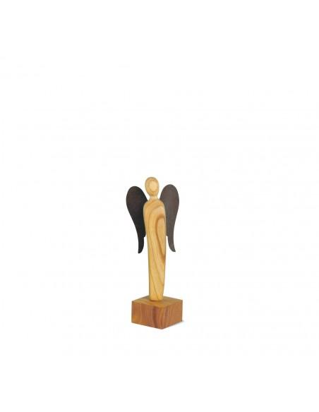 Engel Skulptur 13,5 cm -Moshel- Kirschholz geölt mit Rostflügel