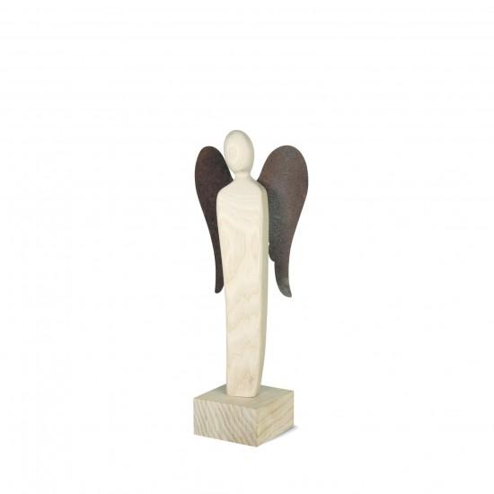 Engel Skulptur 23 cm -Emrudue- Esche Natur mit Rostflügel - Glücksengel