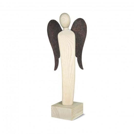 Engel Skulptur 34 cm -Emrudue- Esche Natur mit Rostflügel - Glücksengel