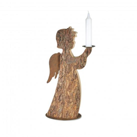 Rindenengel Shariel mit Kerze und Rostflügeln