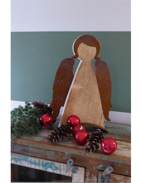 Rost Engel mit Fichtenholz Engel -Brunhilde- Holz-Rost-Kombination auf gebogener Platte Stilisierte weibliche Engelfigur, Frisur