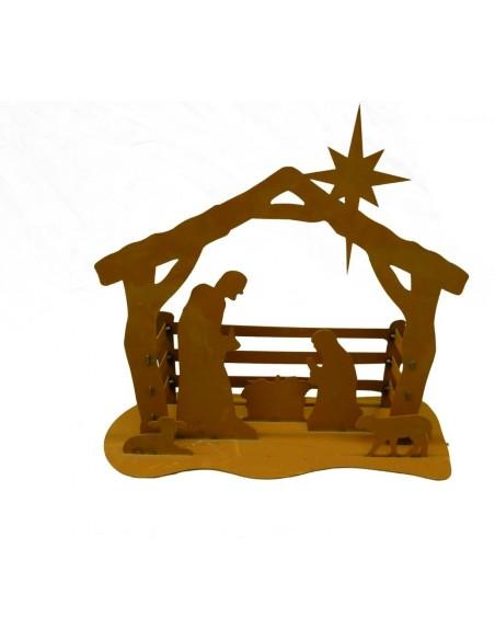 Edelrost Krippe klein mit Josef und Maria