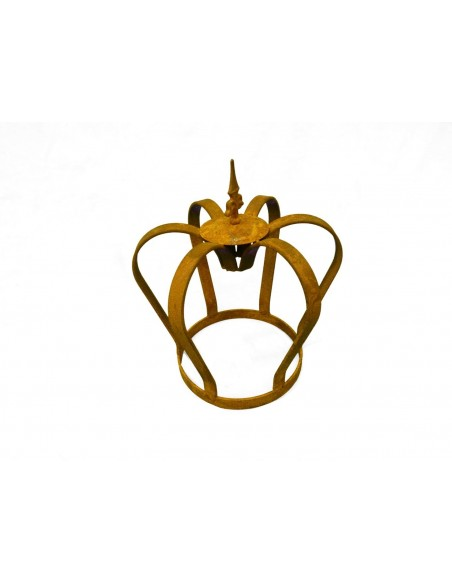 Gartendeko Rost Edelrost Krone massiv mit Lilienspitze Höhe 32 cm - königliche Deko für den Garten Edelrost